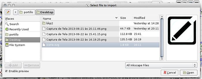 Importar Arquivo no Inkscape