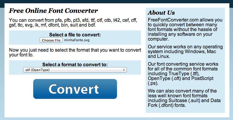 Converter a Fonte em OTF