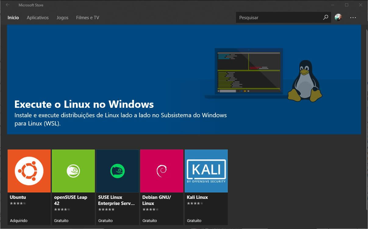 Windows Store - Aplicativos de Subsistemas para Linux