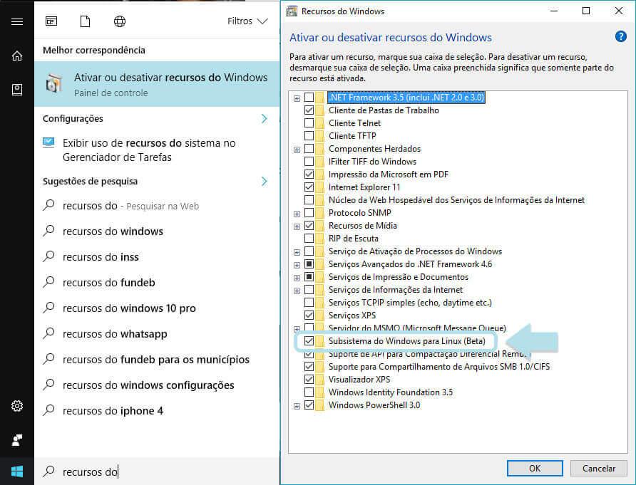 Ativando Subsistema do Winodws para Linux