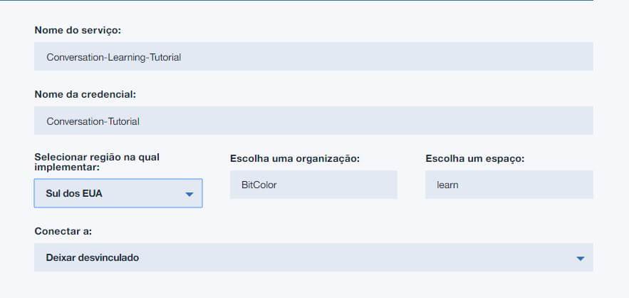 Configuração Bluemix