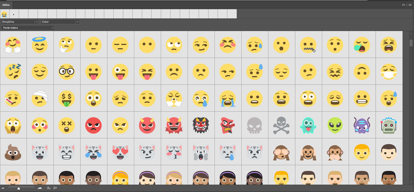 A Adobe na sua atualização de 2016, trouxe algumas novas famílias tipográficas baseadas em emojis.