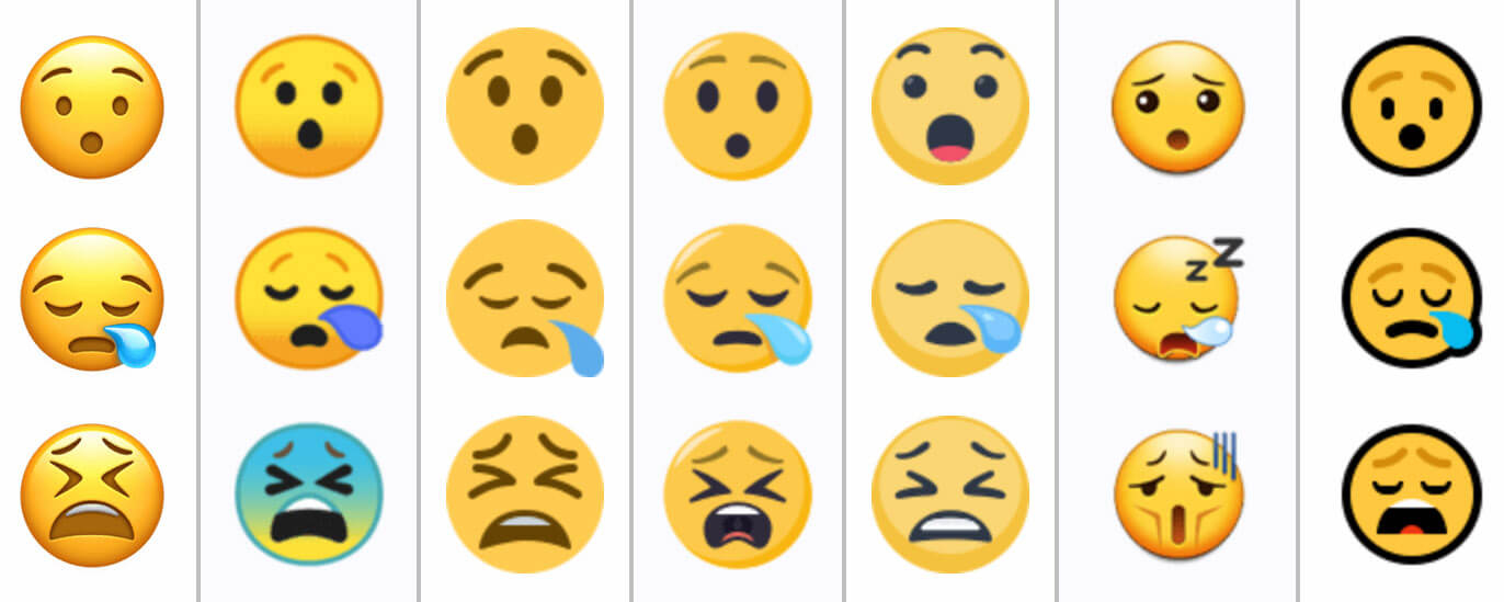 Exemplos de variação de emojis do mesmo tipo