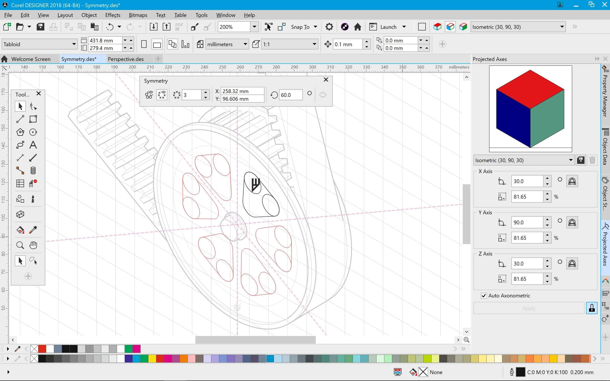 Modo de desenho por Simetria