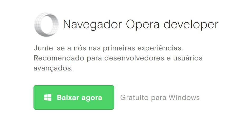 Baixar Opera Developer