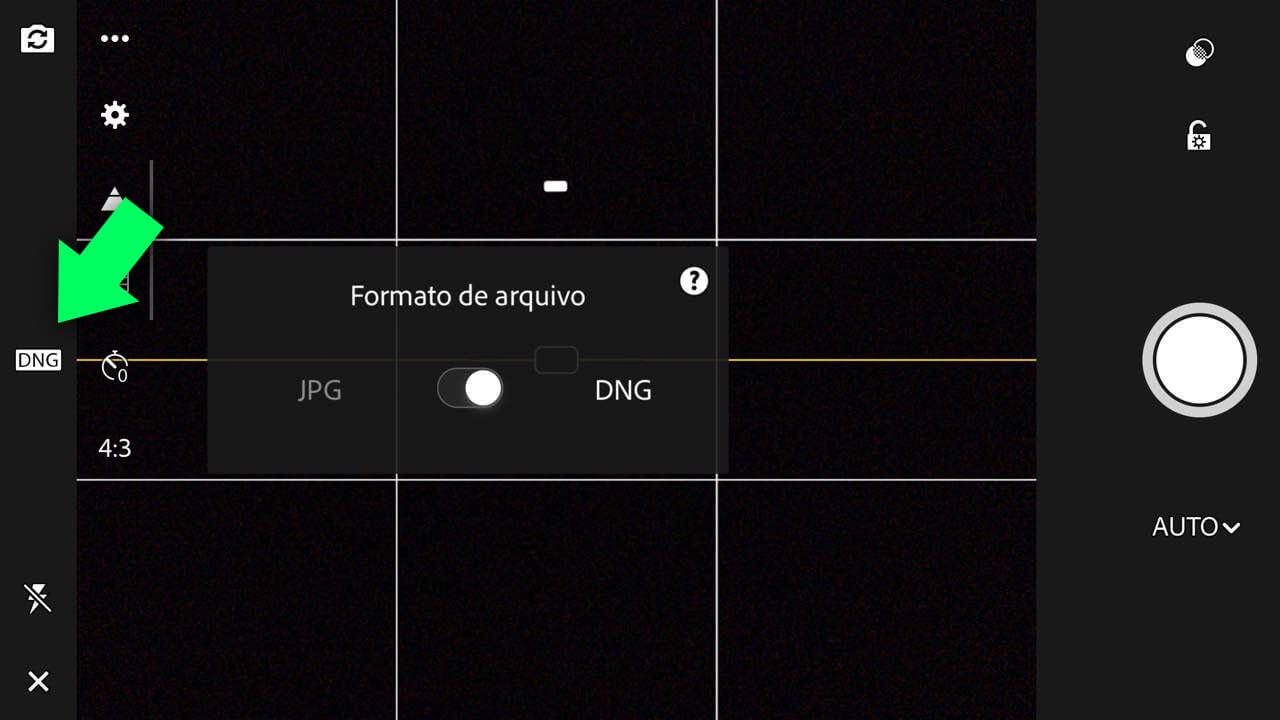 Para ativar o modo DNG, clique na sigla (JPG ou DNG) no topo ou lateral do app (dependendo da orientação)
